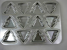 1994 Wilton Petite Christmas Tree Cup Cake Cookie Muffin Pan 2105-8463 Aluminum