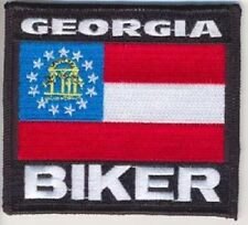 GEORGIA STATE BIKER FLAG EMBROIDERED IRON ON PATCH