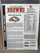 CLEVELAND BROWNS football press release 2005 training camp Trent Dilfer program