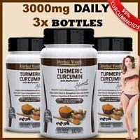 3 x TURMERIC CURCUMIN + BIOPERINE 90,000mg 95% BLACK PEPPER ANTIOXIDANT PILLS