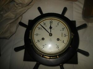 VINTAGE SCHATZ GERMAN SHIPS WHEEL  BRASS  STRIKING BELL CLOCK w/ KEY REDUCED