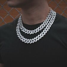 Diamond Prong Straight Edge Cuban Link Chain Choker Necklace 14k White Gold 18mm