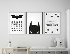 Set of 3 Batman Superhero Alphabet Boys Room Nursery Wall Art Prints Black White