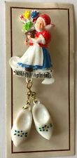 Vintage Brooch - 1950's Little Dutch Girl Pin with Hand Painted Clogs