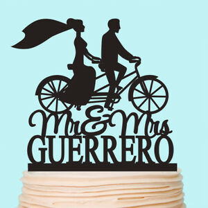 Bride and Groom on the Bicycle Cake Topper Wedding Bike Personalized Decorations