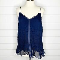 4 Love & Liberty Johnny Was Embroidered Eyelet Tank Top Navy Silk V-Neck S Small