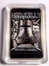 """""""NED KELLY""""  Legend Colour Printed HGE 999 24k Gold Ingot/token #19"""
