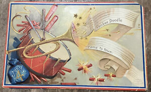 July 4th POSTCARD Vintage DRUM BUGLE FIRECRACKERS YANKEE DOODLE Clapsaddle
