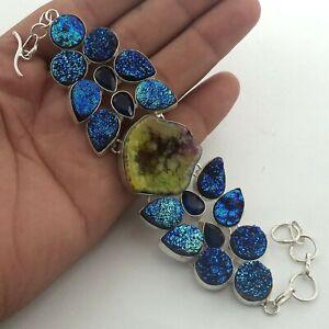 """Slice druzy  Handmade gemstone jewelry Cluster bracelet Wt 315 CTS L-8."""""""