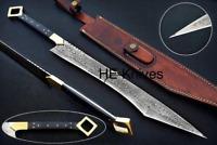 "HUNTEX-CURVE: Custom Handmade 25"" Damascus Steel Sword, WITH LEATHER SHEATH"