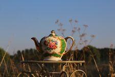More details for 💚 antique rare vintage green gilted sadler pink cabbage roses teapot