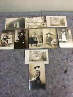 Lot Of 10 Early Real Photo Postcards RPPC-Women In Hats-Girls With Bows