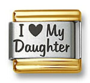 Italian Charm Bracelet Link Laser I Heart My Daughter Gold Trim Stainless Steel
