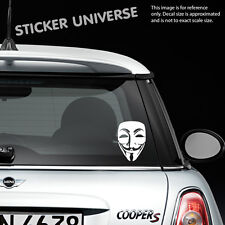 """GUY FAWKES ANONYMOUS MASK 3.5""""X5"""" Vinyl Die Cut Decal Bumper Sticker Conspiracy"""