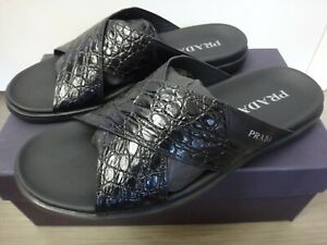 Prada Black Criss Cross Leather Sandals (New with box, size 11)