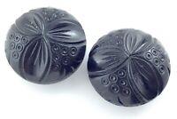 2 Two Vintage Ladies Bakelite Large Carved Black Buttons For Fur Coat 1.5in L800