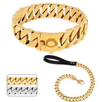Stainless Steel Large Dog Chain Collar and Matching Leash Gold Choke Show Collar
