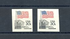 USA -VARIETY 20 CENT FLAG 2 x IMPERFORATED - -** MNH VF