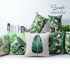"Green Tropical Plants Plam Tree Leaves Linen Pillow Case Cushion Cover 18""x18"""