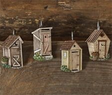 New Primitive Country Outhouse Shower Curtain Hooks Set 12