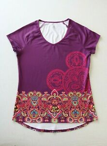 Disney Parks Women's Athletic Top Mickey Mouse Yoga Paisley T-Shirt SIZE XL