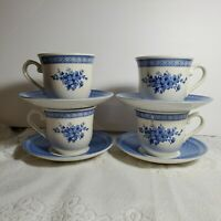 """Set of 4 Churchill Out of the Blue Cups Saucers Bouquet 3"""" Queen's China OA4A03"""
