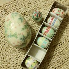 """7 Hand Crafted Eggs: 1 Paper Mache 3 5/8"""" With Soft Roses, 6 Asst 1 1/2"""" Florals"""