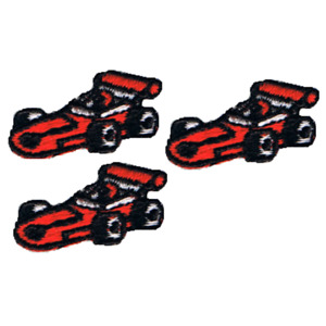 """Vintage Mini Race Car Applique Patch - Red Racer, Speedway 1.25"""" (Sew on)"""