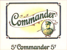 COMMANDER 5¢ CIGARS - VINTAGE CIGAR BOX LABEL