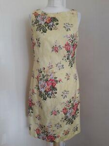K Studio Vintage Retro Butter Yellow Floral Tea Shift Dress Sz US 10 UK 12