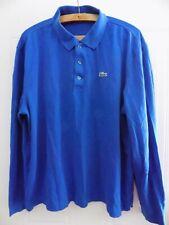 More details for vintage retro lacoste sport long sleeve polo shirt jersey top golf blue men size