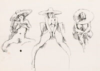 Peter Collins ARCA - c.1970s India Ink, Life Model in a Hat