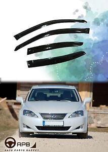 DGWV2-703 Outside Mount Deflector Rain Guard Dark Smoke Tuningpros Window Visor Compatible With 2014-2016 Lexus IS250 IS350 4 Pcs Set