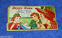 Vintage Japanese Happy Home Needle Book Assorted Gold Eye Needles and Threader