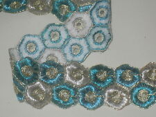 """3 yard in 1 3/4"""" width poly and thread blue turquoise&silver color high end trim"""