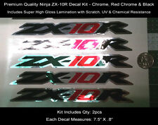Ninja ZX10R Tail Decal Kit 2pcs 08-09 Chrome Red Black Laminated 7.5 Inches 0121