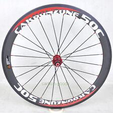Carbon wheel 700C 50mm road bike basalt red white sticker Clincher rear wheel