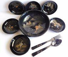 Vintage Japan Black Embossed Lacquer Ware Serving & Salad Bowl Fork Spoon Set