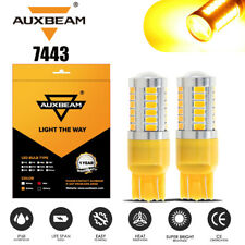 AUXBEAM 7443 7440 LED Turn Signal Brake Back up Light Amber Yellow Error Free
