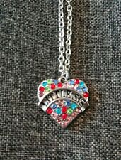 Multi Color Rhinestone Love Heart Pendant Necklace Little Sis with gift bag