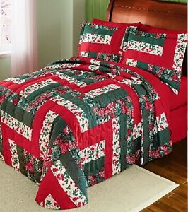 Caledonia Floral Patchwork Quilted Medium-weight Bedspread Full Queen King Color