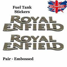 Gold Petrol Tank Enfield Bullet Fuel Gas Embossed 3D Sticker Pair Raised Classic