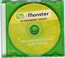 Windows Boot Disk eMonster Windows Utilities Disc Mint CD In Storage Case