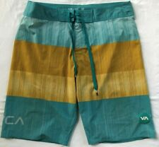 RVCA Boardshorts Size 33 Multi Color Striped Spell Out and Logo