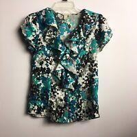 BANANA REPUBLIC Womens Petite Small Blouse Top Short Sleeves Teal Blue Ruffle