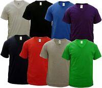 4 PACK MENS V NECK GILDAN COTTON T SHIRTS, M L XL XXL, CHOOSE YOUR PACK COLOURS