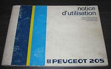Betriebsanleitung Handbuch Peugeot 205 Notice d´ utilisation Instructieboekje