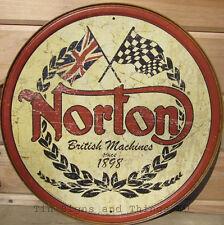 Norton ROUND TIN SIGN British motorcycles vtg metal wall decor garage logo 1705