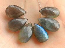 Natural Labradorite Faceted Pear Briolette Semi Precious Gemstone Beads 005