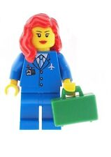 LEGO Air Hostess Town City Minifig with Red Hair Female NEW Girl